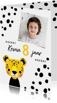 Verjaardagskaart met luipaard en vlekjes