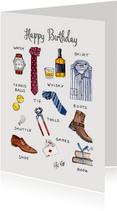 Verjaardagskaart met mannen items