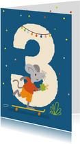 Verjaardagskaart met muis - 3 jaar