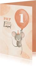 Verjaardagskaart met muisje aan ballon 1 jaar