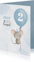 Verjaardagskaart met muisje aan ballon 2 jaar