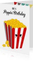Verjaardagskaart met popcorn