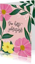 Verjaardagskaart met roze en gele bloemen