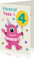 Verjaardagskaart met roze monster