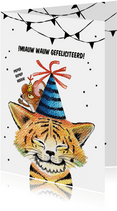 Verjaardagskaart met schattige stoere tijger kat