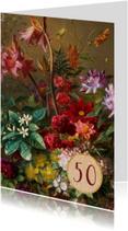 Verjaardagskaart met schilderij van bloemenbos