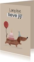 Verjaardagskaart met teckel