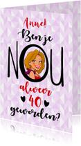 Verjaardagskaart met tekst en kopje van een leuke vrouw