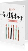 Verjaardagskaart met trendy kaarsjes