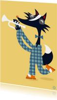 Verjaardagskaarten - Verjaardagskaart met trompet spelende wezel