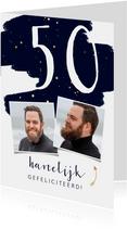 Verjaardagskaart met verflook en gouden spetters aanpasbaar