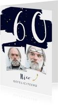 Verjaardagskaart  met verflook en gouden spetters rechthoek