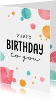 Verjaardagskaart met verfspatten