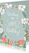 Verjaardagskaart met vintage bloemen en handlettering