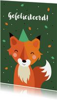 Verjaardagskaart met vosje voor kind