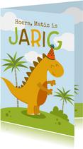 Verjaardagskaart met vrolijke dino
