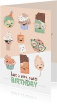 Verjaardagskaart met vrolijke zoete illustraties.