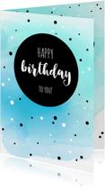 Verjaardagskaart met watercolour en stippen