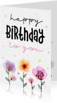 Verjaardagskaart met waterverf bloemen