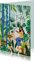 Verjaardagskaart mindful lezen tussen de planten