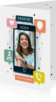Verjaardagskaart mobiele telefoon feestje op afstand