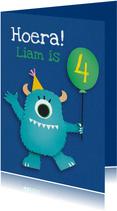 Verjaardagskaart monster met ballon
