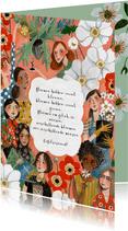 Verjaardagskaart Multiculti vrouwen bloemen en planten