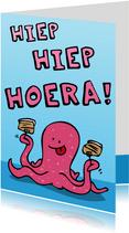 Verjaardagskaart Octopus met Taart