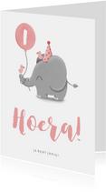 Verjaardagskaart olifantje met ballon en vogels