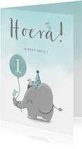 Verjaardagskaart olifantje met ballon en waterverf