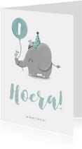 Verjaardagskaart olifantje met vogels en ballon