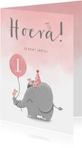Verjaardagskaart olifantje met waterverf en ballon