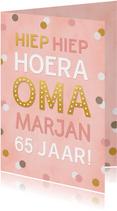 Verjaardagskaart Oma confetti aanpasbare naam en leeftijd
