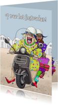 Verjaardagskaart Op de scooter