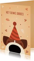 Verjaardagskaart ouwe dibbes hond met feesthoed