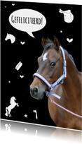 Verjaardagskaart Paardje Zwart