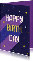 Verjaardagskaart paars retro typografisch met sterren