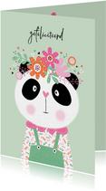 Verjaardagskaart panda bloemen mint