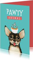 Verjaardagskaart pawty animal hond taart