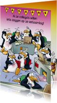 Verjaardagskaart pinguin verjaardag op kantoor