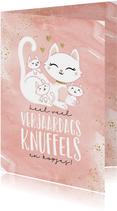 Verjaardagskaart poes kat met kittens schattig kind