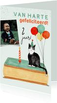 Verjaardagskaart poes tompouce ballonnen foto 2 jaar