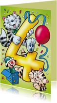 Verjaardagskaart poesjes cijfer vier