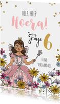 Verjaardagskaart prinses bloemen hartjesconfetti goud
