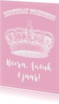 Verjaardagskaart prinses kroon meisje