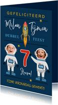 Verjaardagskaart raket ruimte astronaut sterren tweeling