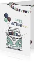 Verjaardagskaart retro busje met ballonnen