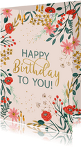 Verjaardagskaart rode bloemen met takjes