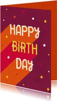 Verjaardagskaart roze retro typografisch met sterren
