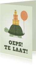 Verjaardagskaart schildpad met ballon en cadautjes te laat